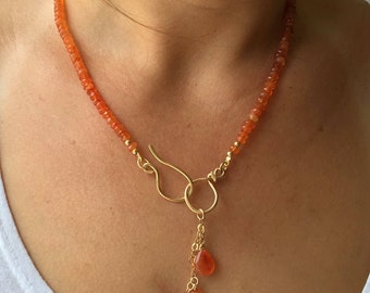 Orange carnelian necklace, Carnelian necklace, Orange gold necklace, Carnelian gemstone, Orange gemstone, Orange beads, Carnelian beads,