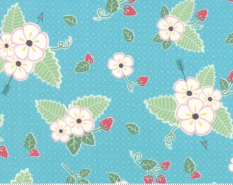 Strawberry Fabric - Aqua Blue - Moda Bumble Berries Fabric - Floral Fabric By The 1/2 Yard