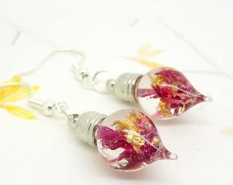 Real flower earrings, purple cornflower earrings, resin earrings, botanical jewellery, teardrop earrings, bridesmaid gift, wedding jewellery