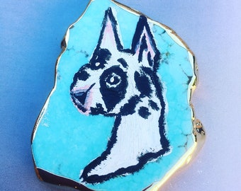 Acrylic Handpainted Dog Turquoise Stone