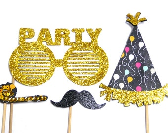 Photo Booth Props - Happy Birthday Mini Set Party Gold 4PC Set