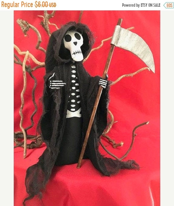 ON SALE Halloween Ghoul Grim Reaper with Sickle Cloth Doll Mailed Pattern