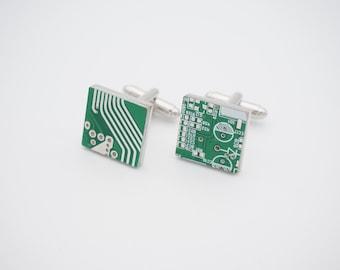 Circuit Board Cufflinks, Computer Chip, Motherboard,  Men's Gift, Men's Accessories
