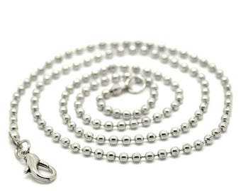 12 chains beads 2.4 mm silver matte + clasp: CHN 0042