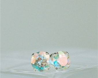 Memorial Day Sale Opalescent Topaz Stud Earrings Sterling Silver 5mm Round 1.10ctw