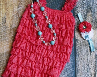 Coral and Blue Ruffle Romper