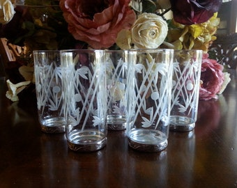 1920s to 1930s Bar Glasses, Cut Crystal Tumblers, Silverplate Bases, Art Nouveau Design, Depressio Era, Set of 5, Excellent