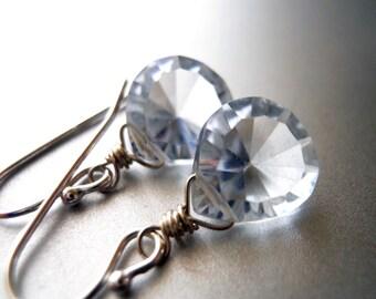 Simple drop earrings, drop earrings, simple drop, Blue Diamond Teeny earrings, Gift Idea, Blue Quartz earrings, Wedding, Bridesmaid Gift,
