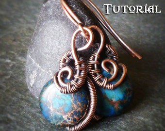 TUTORIAL Sea Urchin Earrings - Wire Wrapped Earring Lesson - Wirewrapped Dangling Earring Class - Coin Bead Earring Pattern