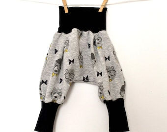 """Baby harem pants, evolutionary kids harem pants in soft fleece lined Sweatshirt """"bear with glasses (from 6/12 months to 18/24 months)"""