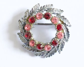 Vintage pink and red stone brooch