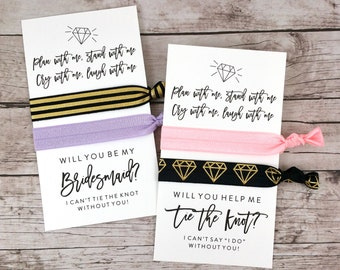 Bridesmaid Proposal Hair Ties, Plan With Me Stand With Me, Bridesmaid Hair Ties, Will You Help Me Tie The Knot - (FPS0HT7)