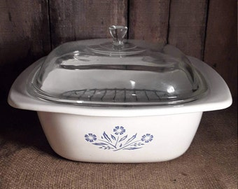 Corning Ware Dutch Oven 4 QT Casserole Lid Cornflower Blue White Glassware