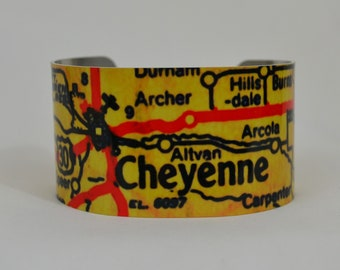 Cheyenne Wyoming Map Cuff Bracelet