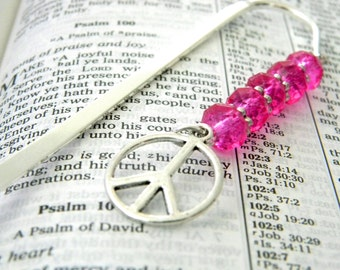 Peace Sign Bookmark with Hot Pink Glass Beads Shepherd Hook Steel Bookmark Silver Color