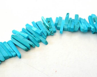 Set of 10 turquoise howlite beads