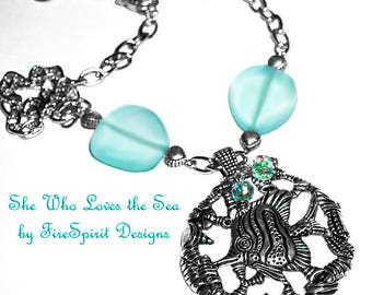 She Who Loves the Sea- handcrafted necklace- handmade necklace- artisan necklace- gift for her- beach necklace- ooak necklace-chain necklace