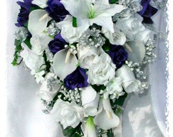 Blue & White Cascade Bridal Bouquet Silver Baby Breath Accents ~ Gorgeous Quality Real Touch Roses Calla Lilies Silk Wedding Flowers