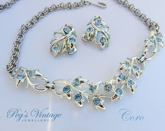 Coro Rhinestone Necklace / Choker and Clip Earring Set, Sparkling Blue Rhinestone Jewelry Set, Brides Necklace, Gift for Her