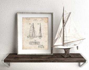 Collapsable Sailboat Poster, Sailboat Decor, Sailboat Blueprint, Sailing Decor, Sailboat Print, PP0769