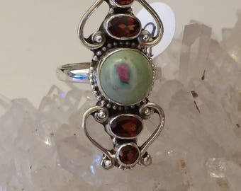 Ruby in Fuchsite and Garnet Party Ring Size 9