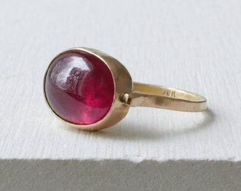 Ruby Ring 18k Yellow Gold -  Smooth Oval Ruby Cabochon – Solid 18k Gold - Alternative Engagement Ring - Solitaire Ring  - One of a Kind