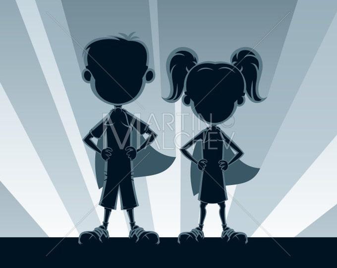 Superkids Silhouettes - Vector Illustration. superhero, superman, super, hero, child, kid, boy, girl, young, little, silhouette, kids,