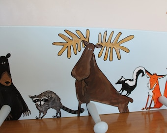 """Wilderness Hook, Wilderness theme for kids room, triple hook in a Canadian wilderness theme.  approx 14 x 6.5"""" handmade by me. Can customize"""