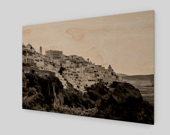 Santorini Hill Side Wood Print, 1:50 Limited Edition / home decor / decoration / photo / photography / black and white /. lux .. modern
