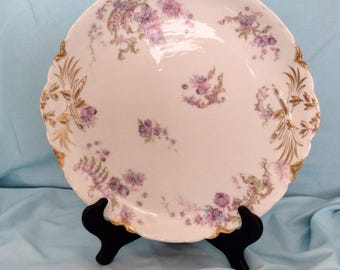 "Haviland Limoges 11"" serving plate with gold accent"
