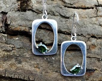 Green Peridot Earrings Handmade Dangle Earrings Sterling Silver Earrings Rectangle Hook Earrings Modern Geometric Earrings Meaningful Gift