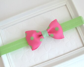 Pink and Green Baby Bow / Headband, Pink Polka Dot Hair Bow, Baby Headband, Infant Headband, Newborn Headband, Preppy Hair Accessories