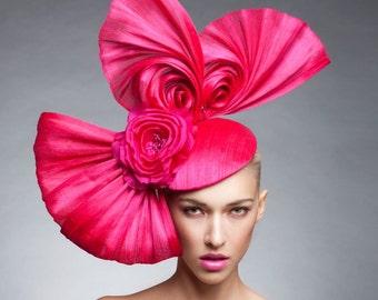 Hot Pink Swirls Headpiece , Hot pink Fascinator , Kentucky Derby hat, Couture headpiece