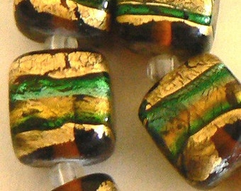 SALE 1 12mm Focal Glass Black With Gold Foil Dichroic Lampwork Bead b1736