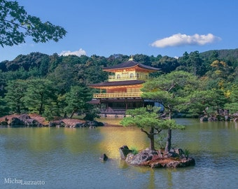 Travel Photography Print, Japanese Architecture, Golden Pavilion, Japanese Landscape, Zen Buddhist Monk, Kinkaku-ji, Asia Photo, Kyoto Japan