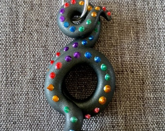 LGBT + Pride Flag Rainbow Octopus Tentacle Polymer Clay OOAK Necklace Pendant
