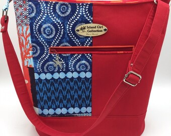 Large Handbag, Shoulder Bag, Bucket Bag, Purse in Red and Ocean Themed Fabric - Made in Maui