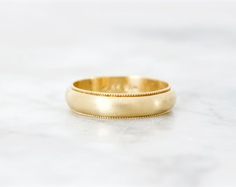 Vintage Wedding Band, 14k Yellow Gold Ring, Milgrain Brushed Finish, Matte Gold Stacking Ring, 4 mm Wide Band, Simple Bridal Jewelry, Size 7