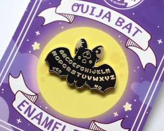 Kawaii Ouija Board Bat Enamel Pin ( Black Version )