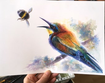Bee-Eater original watercolour. Watercolor Merops, bumblebee, bird artwork, bird watercolour, bird art, bird painting, Humble-bee