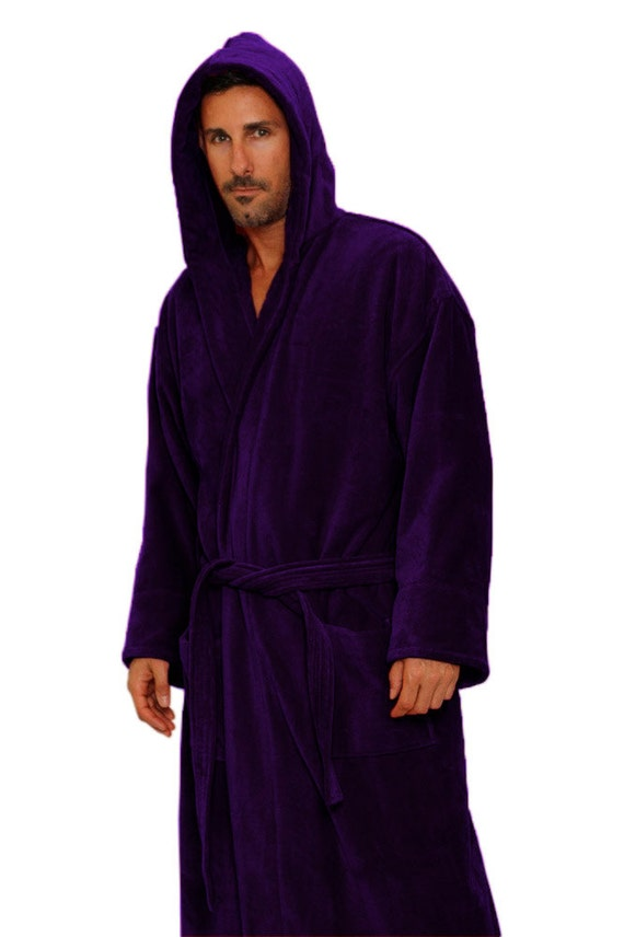 Purple Hooded Bath Robe Personalized Monogrammed Bathrobe
