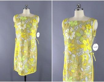 Vintage 1960s Hawaiian Dress / 60s Aloha Dress / Yellow Floral Print Day Dress / Preppy Summer Sundress / Paradise Hawaii