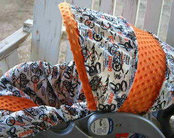 motorcycles what happens in the garage fabric with orange minky infant car seat cover and hood cover