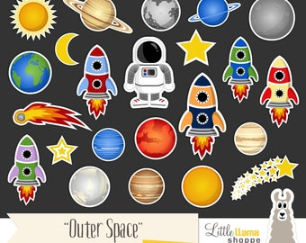 Space Clip Art, Cosmic Astronomy Planets Rockets Astronaut Sun Moon Stars Comet Clipart Set, Commercial Use