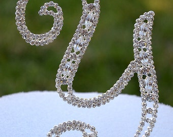 """Large 5""""  Crystal Rhinestone Silver Cake Topper Letter """"Y"""" Monogram Wedding Birthday Party Top Initial CT060"""