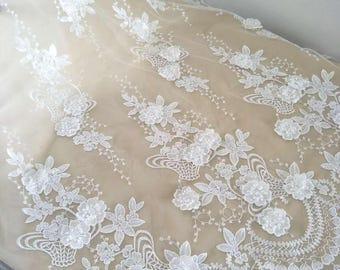 Fashion Newest bridal lace fabric,wedding lace fabric with 3d flower,3D lace fabric,guipure lace fabric,alencon lace fabric, french lace
