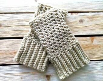 Hand knit Fingerless gloves, Beige gloves, Mesh Fingerless Gloves (Free Shipping)