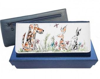 Dog and rabbit purse, pink purse, navy purse, leather purse, dog and rabbit gift, dog and rabbit leather purse, dog and rabbit, dog, rabbit