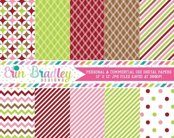 80% OFF SALE Christmas Digital Papers Personal and Commercial Use Colorful Holiday Medley