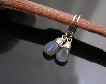 Labradorite Earrings, Hoop Earrings, Small Earrings with wire wrapped Labradorite, Labradorite Jewelry, Gemstone Earrings, E1960